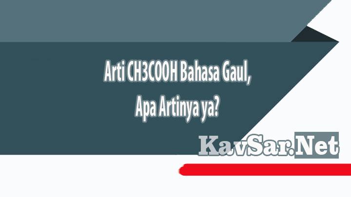 Arti CH3COOH Bahasa Gaul Apa Artinya ya